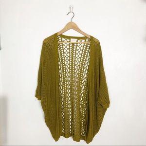 Lush green open knit cardigan